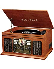 Innovative Technology Nostalgic Classic Wood 6-in-1 Bluetooth Turntable Entertainment Center, Mahogany
