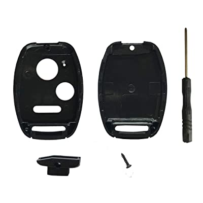 Cutting Not Required - Replacement Key Fob Shell Case Fit for Honda Accord Civic CR-V Fit Odyssey Pilot Ridgeline CR-Z Crosstour 3 Buttons Keyless Entry Remote Car Key Housing with Screwdriver: Automotive