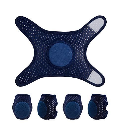 Baby Crawling Anti-Slip Knee pads, Adjustable Unisex Baby Toddlers Kneepads Leg Warmers 2 Pairs (Blue)