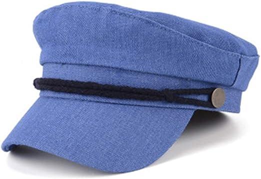 Melodycp Boina Retro Gorra Azul Marino con Parte Superior Plana ...