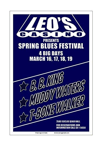 Raw Sugar Art Studio BB King/Muddy Waters/T-Bone Walker 1967 Cleveland Concert Poster