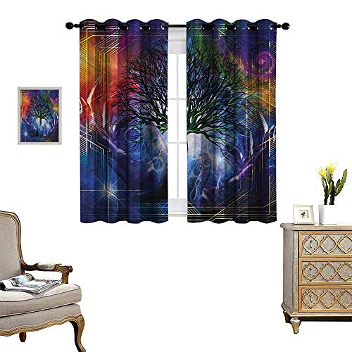 Nature Patterned Drape for Glass Door Human Hand Grabs a Leafless Tree Vitality Symbol Modern Hippie Karma Artisan Theme Waterproof Window Curtain W72 x L45 Blue Purple
