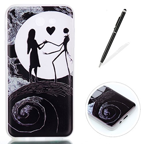 KaseHom Case Compatible for Samsung Galaxy J7 2017 Silicone Gel Case Luminous Effect Green Glow in The Dark Clear Soft Ultra Slim TPU Protective Case Cover,Nightmare Before -