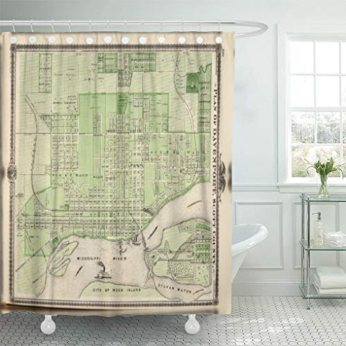 Semtomn Shower Curtain Col Plan of Davenport Scott County Iowa Lithographed Map 72