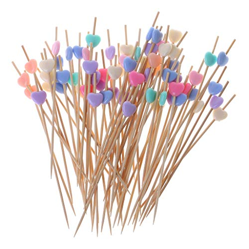 Simdoc Colorful Hearts Cocktail Sticks 100 Counts Bamboo Toothpicks Party Supplies For Frill Finger Food Fruits Sandwich Appetizer Handmade Cocktail Picks,Random Color
