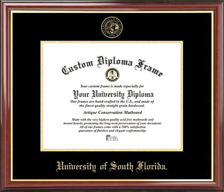 Laminated Visuals University of South Florida Bulls - Embossed Seal - Mahogany Gold Trim - Diploma Frame