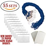 ID Badge Holders & Lanyards, 55 sets, BLUE String and HORIZONTAL PVC Name Tag Hole Punched Zipper Waterproof Resealable Clear Plastic BONUS Kit Insert Labels Credit Card For Employees Heavy Duty Bulk