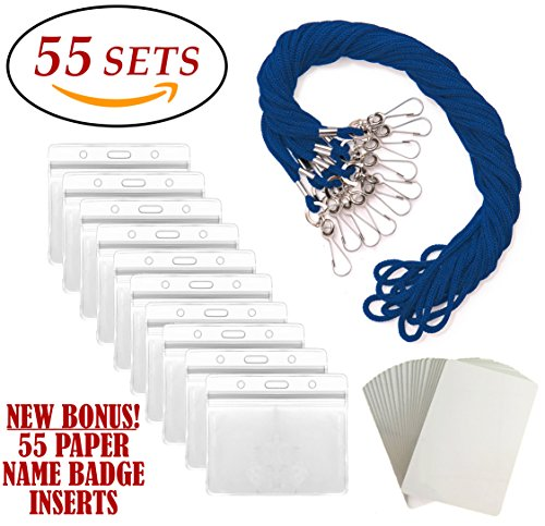 ID Badge Holders & Lanyards, 55 sets, BLUE String and HORIZONTAL PVC Name Tag Hole Punched Zipper Waterproof Resealable Clear Plastic BONUS Kit Insert Labels Credit Card For Employees Heavy (Lanyard Hole)