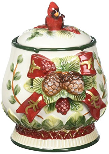 Cosmos Gifts 10556 Evergreen Holiday Jar, 7-1/2-Inch Christmas Tree Cookie Jar