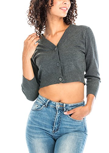 - Luna Flower Women's Three Quarter Sleeve V-Neck Knit Cardigan with Cropped Hem Charcoal Medium (GCDW044)