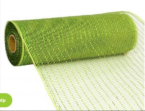 (10 inch x 30 feet Deco Poly Mesh Ribbon - Metallic Moss and Apple Foil : RE130149)