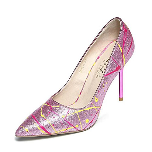 Pumps Pink Womens PU Large Leather Size Colorfull 1AqpqOfX