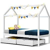Artiss Kids House Bed Frame Single Wooden White