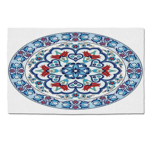 (YOLIYANA Antique Decor Durable Door Mat,Ottoman Turkish Style Art with Tulip Period Ceramic Floral Art Elements European Touch Print for Home Office,One Size)