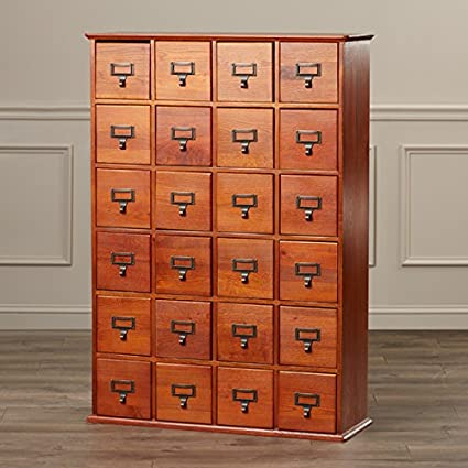 Multimedia Storage Cabinet Library Card Catalog Sewing Apothecary Craft  Organizer Wood (Walnut)