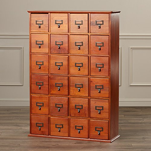 Multimedia Storage Cabinet Library Card Catalog Sewing Apothecary Craft Organizer Wood (Walnut) (Storage Apothecary Media)