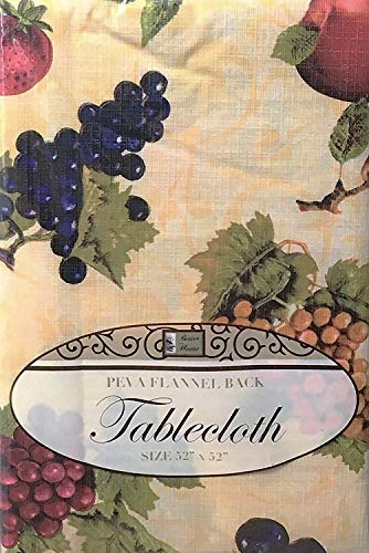 - Kitchen Tablecloth PEVA Flannel Backed Multi Design & Color Selection 52