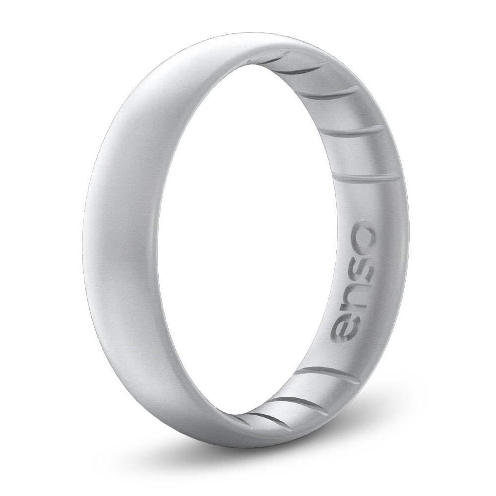 Enso Rings Thin Elements Silicone Ring by Precious Metal Infused Silicone Rings. Silver. Size 7