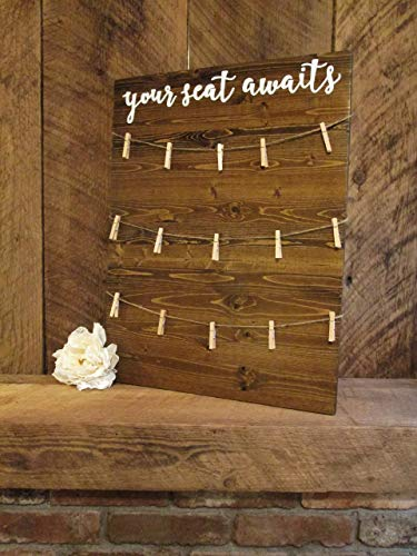 Wedding Seating Sign- customize wording and colors- escort card sign- your seat awaits- be our guest- find your seat sign ()