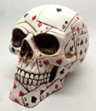 POKER FACE CARDS SKULL UTILITY BOX W LID STATUE FIGURINE ACES GAMBLING by Pacific Trading
