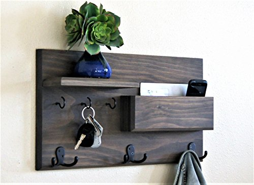 Midnight Woodworks Original Entryway Organizer Driftwood Weathered Gray Coat Rack and Key Rack with Mail Storage and Floating Shelf