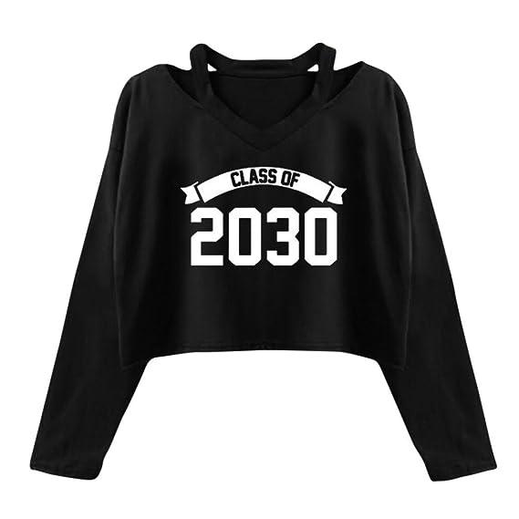 Sudaderas Mujer Amlaiworld Sudaderas Tumblr Mujer Impresión Blusa Crop Top Camisetas Mujer (S, Nergo