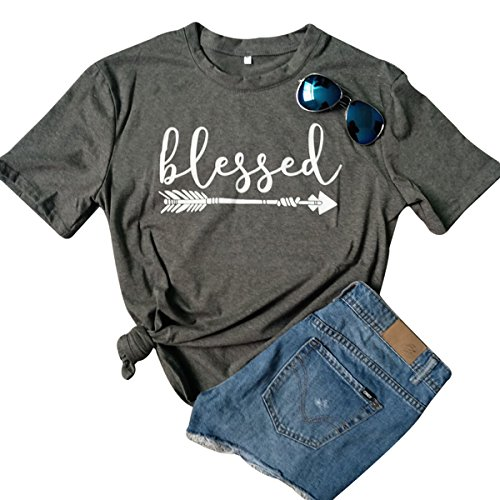 Blessed Arrow Letter Printed T-Shirt Women's Casual Round Neck Short Sleeve Tops Size M (Gray) Christian Juniors T-shirts