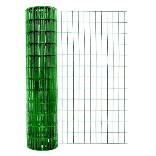Garden Zone 48 Inches x 50 Feet 14-Gauge Green Vinyl Coated Garden Fence with 2 x 4-Inch Openings