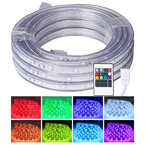 LED Rope Lights, 16.4ft Flat Flexible RGB Strip Light, Color Changing, Waterproof for Indoor Outdoor Use, Connectable Decorative Lighting, 8 Colors and Multiple Modes -