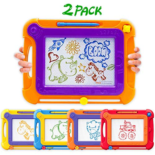Ziwing Magnetic Drawing Board & Pad with Multi-Colors Drawing Screens and Magna Pen for Kids Toddlers - Doodle - Sketch - Etch and Erasable Free, Toys Gifts for 3 4 -