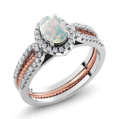Gem Stone King 925 2-Tone Sterling Silver Simulated Opal Wedding Band Insert Ring 1.25 Ctw (Size 7)