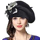 #7: VECRY Lady French Beret 100% Wool Beret Floral Dress Beanie Winter Hat