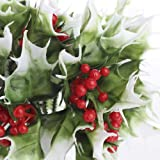 Factory Direct Craft Group of 12 Vinyl Christmas Holiday Holly Picks with Red Berry Cluster Centers
