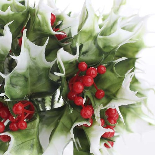 - Factory Direct Craft Group of 12 Vinyl Christmas Holiday Holly Picks with Red Berry Cluster Centers