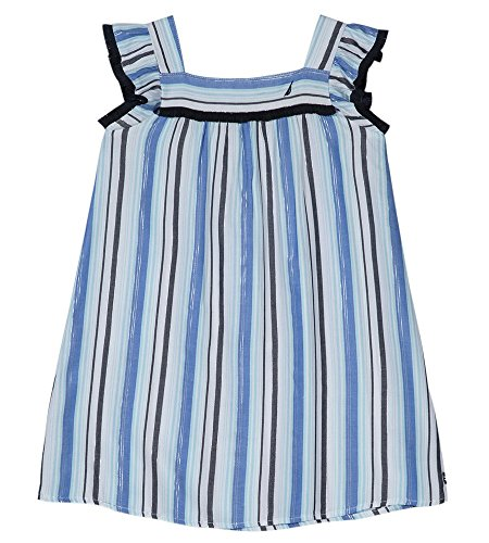 Nautica Girls' Toddler Spaghetti Strap Fashion Dress, Stripe Periwinkle, 2T