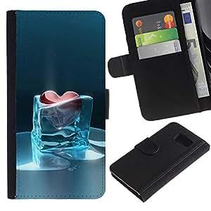 EJOY---La carpeta del tirón la caja de cuero de alta calidad de la PU Caso protector / Samsung Galaxy S6 / --corazón de cristal angustia congelada helada