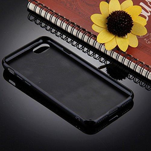 Wkae Schwarzer Hintergrund Glitter Powder Herz Muster TPU Stoßfänger Schützender harter rückseitiger Abdeckungs-Fall für iPhone 7