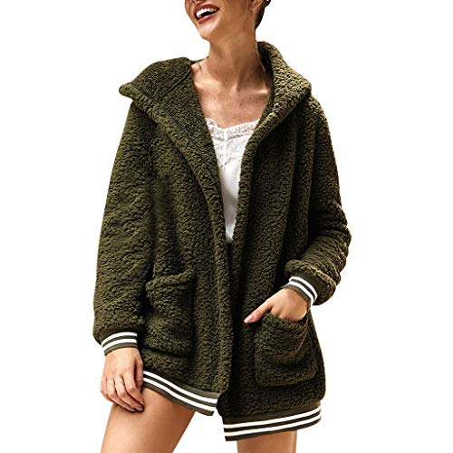 Price comparison product image Outeck for Women Elegant Jacket Long Sleeves Hooded Casual Leisure with Pocket Hoodies Fall Winter Blouse Solid Color (S,  Army Green)