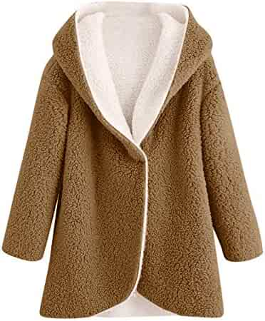 3a1ca87e1c5ef Zaidern Women Coats Junior Girl Winter Curved Hem Hooded Sweatshirts  Longline Faux Fur Sherpa Fleece Hoodie