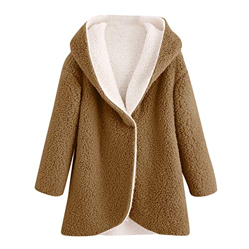 IEason Women Cardigans, Women's Winter Curved Hem Longline Faux Fur Sherpa Fleece Hoodie Coat CO/2XL