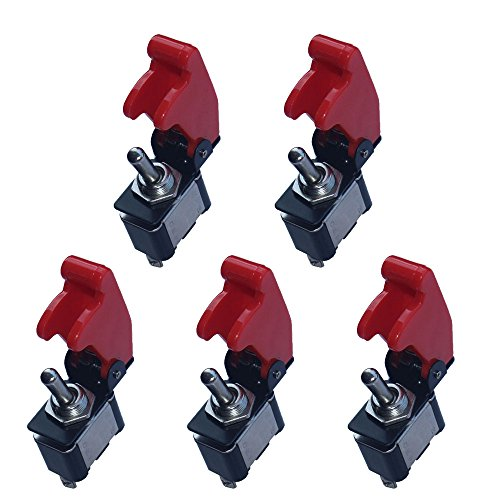 20a Switch (E Support 12V 20A Red Cover Rocker Toggle Switch SPST ON/OFF Car Truck Boat 2Pin Pack of 5)