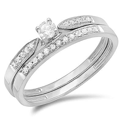 0.25 Carat (ctw) 10K Gold Round Diamond Ladies Bridal Engagement Ring Matching Band Wedding Set 1/4 CT