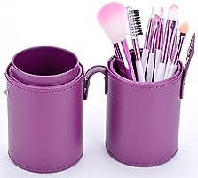 Finejo - Juego de 8 brochas para maquillaje (en estuche circular morado): Amazon.es: Belleza
