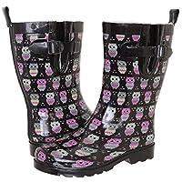 Capelli New York Ladies Shiny Owl Printed Mid-Calf Rain Boot Black Combo 9