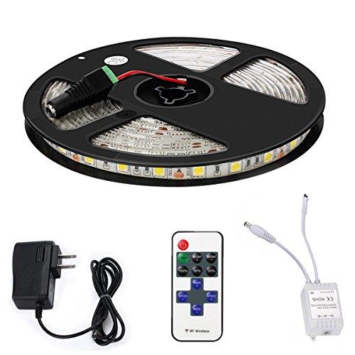 Led Light Strip Kit MECO Waterproof Strip Lights SMD 5050 Flexible Tape Lights 300 LEDs 5M/16.4ft DC 12V (Flat Under Cabinet Lighting)