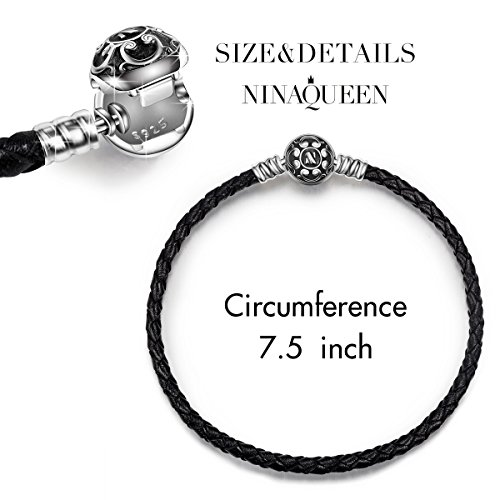 "NinaQueen 7.5"" Multicolor Genuine Leather Women Bracelet with 925 Sterling Silver Snap Clasp Charms Bracelet for Charms Groovy Gifts For Her"