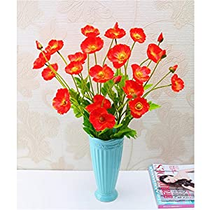 tutu.vivi Real Touch Silk Corn Poppies Decorative Silk Fake Artificial Poppy Flowers for Wedding Holiday Bridal Bouquet Home Party Decor Bridesmaid 5 PCS (Sunset) 12