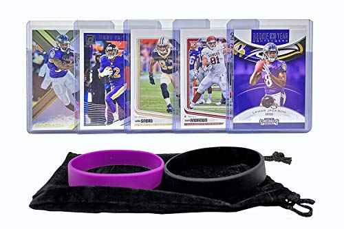 Baltimore Ravens Cards: Lamar Jackson, Willie Snead, Kenneth Dixon, Jimmy Smith, Mark Andrews ASSORTED Football Trading Card and Wristbands Bundle (Baltimore Ravens Best Players)