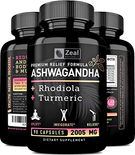 Premium Ashwagandha Complex - Organic Ashwagandha + Rhodiola Rosea + Turmeric - 100% Pure Ashwagandha Extract Capsules to Support Pain and Anxiety Relief + Maximum Strength Adrenal Support