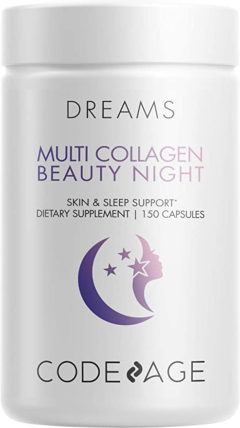 Multi Collagen Protein Beauty Night Capsules, Magnesium, 5-HTP, L-Theanine, Melatonin Supplement - 5 Types Collagen - Grass Fed Hydrolyzed Collagen Pills - Hair, Skin, Nails, Joints, Sleep - 150 Count